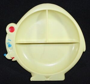 Vintage Divided Baby Feeding Dish Plate Yellow Bear Collectable Kitsch