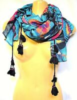 TS TAKING SHAPE Tropical Toucan Scarf tassels beads trimming soft 80 x 180cm NWT