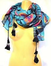 TS Taking Shape Tropical Toucan Scarf Tassels Beads Trimming Soft 80 X 180cm