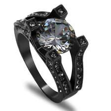 Size 9 Round Cut White Zircon Engagement Ring Black Rhodium Plated jewelry