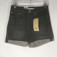 Levi's wedgie High rise shorts NWT size 6 W28 gray black $49