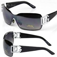 New DG Womens Sunglasses Shades Shield One lens Silver Black Retro Fashion Wrap