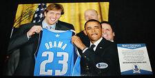 Dirk Nowitzki signed 8 x 10 with Obama, Dallas Mavericks, Germany, Beckett BAS
