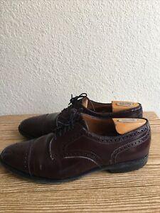 Allen Edmonds Sanford Burgundy Leather Shoes Size 9.5 US Perforated Cap Toe