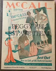 MAY 1930 McCALL STYLE NEWS FASHIONS FLYER FROM GATES DRY GOODS FT DODGE, IA.
