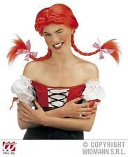 Señoras Peluca Roja Con Bendable racimos Trenzas Oktoberfest Annie Fancy Dress