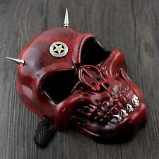 Halloween Cosplay Costume Masquerade Red Skull Face Steampunk Mask Spikes