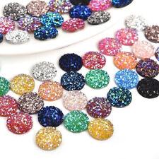 50x 12mm Mix Glitter Dome Round Resin Cabochon Flatback Embellishments Craft Lot