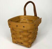 Vintage 1996 Longaberger Chives Hanging Booking Hostess Basket w/ Leather Strap