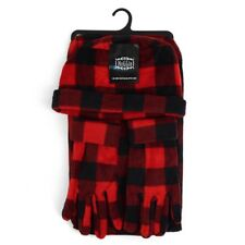 Women's Red Plaid 3 Piece Fleece Hat, Scarf & Glove Winter Set