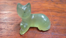 Vintage Chinese Asian Jade Handcarved Serpentine Small Figurine Laying Cat Kitty