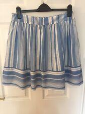 Ladies Lucy&Laurel Blue Striped A-line Skirt Size M