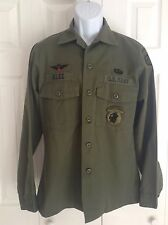 US Army OD Green Utility Uniform Shirt~82nd Airborne Jungle Expert Jump Wings
