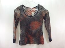 BKE Buckle Blouse Shirt Size L Pullover Black Rust NWT Semi Sheer Long Sleeve
