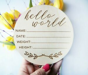 Laser Cur Wooden Baby Shower Gift Milestone Name Card, Birth Announcement, BA2