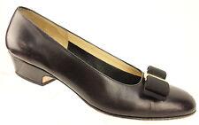Salvatore Ferragamo Vara Bow Black Leather Slip On Pumps Shoes Women's Size 6B