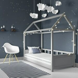 Coco Kids House Bed Frame in Light Grey