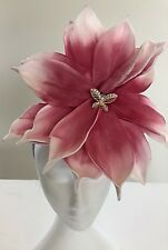 Large Pink & White Flower Fascinator - Made In AUS - A00101