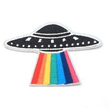 Rainbow UFO Iron On Patch Space X Files 90s Alien Abduction Badge/Applique/Trans