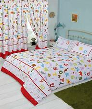 Lovely Kids ABC Alphabet Numbers And Animals Colourful Double Duvet Bedding Set