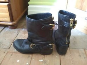 Black leather Dune biker boots size 4.5 chunky zip