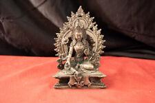 "Old Antique Tibet Silver Green Tara Statue. 1850-1899. 7"" x 6"" x 4"" 1 lb."