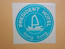 """Hong Kong 1960-70's Kowloon """"President Hotel"""" Luggage Sticker Label"""