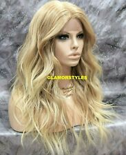 Human Hair Blend Long Beach Wavy Blonde Mix Lace Front Full Wig Hair Piece 27613