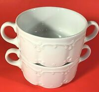 ROSENTHAL CLASSIC MONBIJOU CREAM SOUP CUPS GERMANY SET OF 2 VINTAGE WHITE
