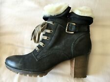 Genuine Leather Ankle Boots Fur Trim Brand New 38