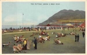 THE PUTTING GREEN & BRAY HEAD IRELAND GOLF POSTCARD 1955