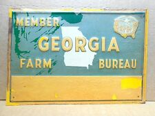 EMBOSSED Vintage GEORGIA FARM BUREAU MEMBER Tin Metal Sign - Rare NOS Condition