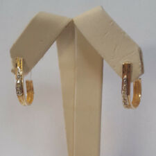 Beautiful Designer 14KT Yellow Gold Half Hoop Earrings W/ Round Diamond Accents