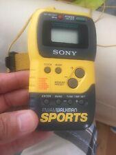 Sony SRF-M70 AM/FM Walkman Sports Yellow Start/Stop Watch  With Strap Works
