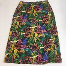 Vintage parrots floral Hawaiian faux wrap maxi skirt womens XL rayon colorful