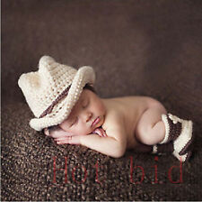 Baby Boys Photography Prop Crochet Knitted Costume Cowboy Hat Boots Outfits