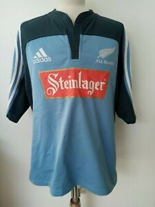 Men's NEW ZEALAND ALL BLACKS 2005 adidas Steinlager RUGBY SHIRT size LARGE (L)