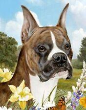 Outdoor Small Flag Boxer Brindle Dog Summer Flowers Garden Flag