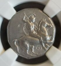 Calabria, Taras Didrachm 302-281 BC NGC VF Ancient Silver Coin