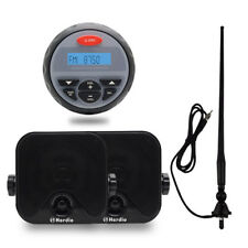 "12 Marine Stereo Package Boat Bluetooth Radio+4"" Car Box Speakers+FM AM Antenna"