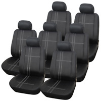 Deluxe Luxury Polyester Texas Black & Grey Car MPV Seat Covers Set 14 Piece