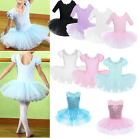 Girls Ballet Dance Dress Kids Gymnastics Short Sleeve Leotard Tutu Skirt Costume