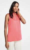 NWT Womens Ann Taylor Coral Sleeveless Split Neck Tunic Top Sz Large