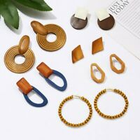 Fashion Geometric Irregular Handmade Wooden Braid Drop Earrings Women Jewellery