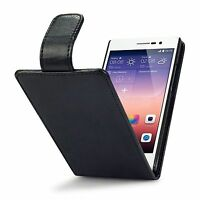 For Huawei Ascend P7 Premium PU Leather Flip Case Cover - Black
