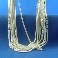 Wholesale 925 Solid Silver Plated Lots 5pcs 1mm Snake Chain Necklace 16-30inch