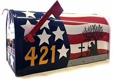*Custom Painted* Rural Large MAILBOX *American Flag with SOLDIER silhouette*