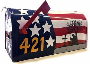 *American FLAG and Soldier* Large-Size MAILBOX- Custom Painted- Rural-Style