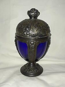 Victorian PNCW Dark Cobalt Blue Glass Insert Covered Candy Dish USA -c1900