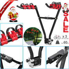 """Foldable 3 Bicycle Bike Car Rear Rack Carrier Tow Ball Mount 2"""" Tow Bar Hitch AU"""